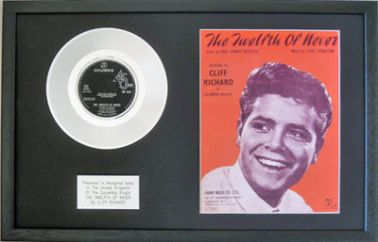 "CLIFF RICHARD - 7"" Platinum Disc & Songsheet - THE TWELFTH OF NEVER"